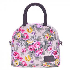 Canvas Floral Print Lunch Bag - Gray - L