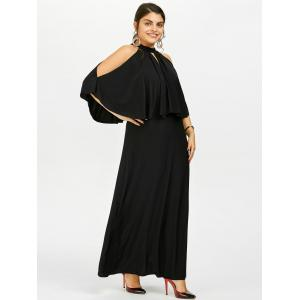 Plus Size Cold Shoulder Capelet Long Formal Dress - BLACK 5XL