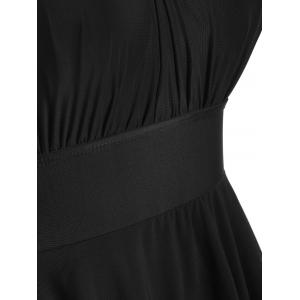 Mesh Insert Plus Size High Neck Swim Dress - BLACK 3XL