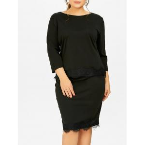 Plus Size Two Piece Fitted Bodycon Dress - Black - 6xl