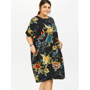 Plus Size Butterfly Floral Midi Oversized Dress -
