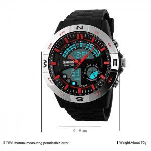 SKMEI Outdoor Timer Tachymeter Digital Sports Watch - SILVER AND RED