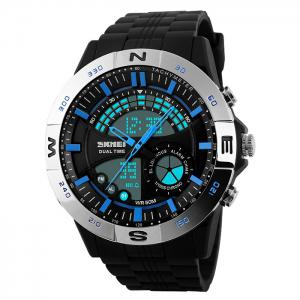SKMEI Outdoor Timer Tachymeter Digital Sports Watch - Silver And Blue