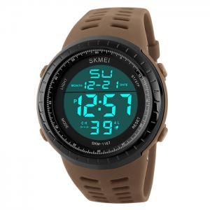 SKMEI Pedometer Luminous Digital Sports Watch - Coffee