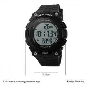 SKMEI Outdoor Pedometer Digital Sports Watch - BLACK