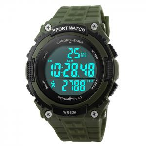 SKMEI Outdoor Pedometer Digital Sports Watch - Army Green
