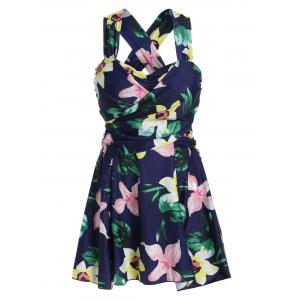 Plus Size HawaiianFloral High Waist Swimdress - Floral - 4xl