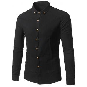 Turndown Collar Long Sleeve Cotton Button Down Shirt