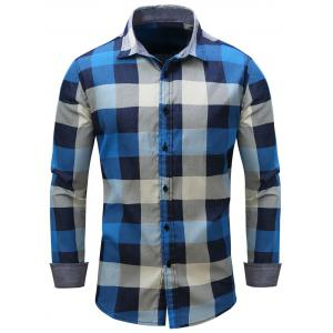Color Block Checked Oblique Stripe Chambray Shirt
