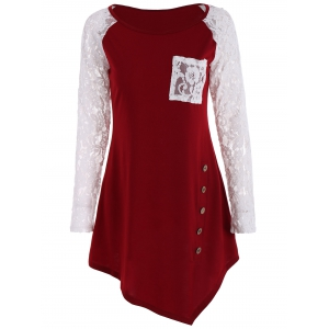 Lace Insert Raglan Sleeve Tunic Top - Wine Red - Xl