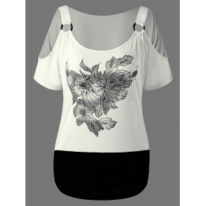 Floral Graphic Cold Shoulder T-Shirt - White - M