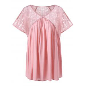 Plus Size Lace Insert V Neck Smock Top