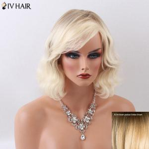 Siv Hair Medium Curly Shaggy Side Bang Capless Human Hair Wig