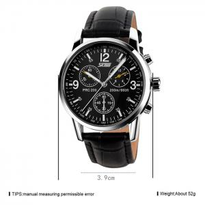 SKMEI Faux Leather Tachymeter Quartz Watch - BLACK