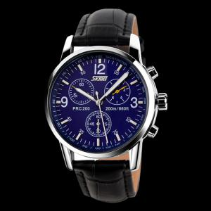 SKMEI Faux Leather Tachymeter Quartz Watch - BLUE