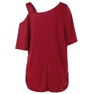 Plus Size Skew Collar Rose Tunic Top - RED XL