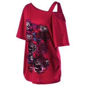 Skew Collar Rose Print Long Shirred T-Shirt - RED 5XL