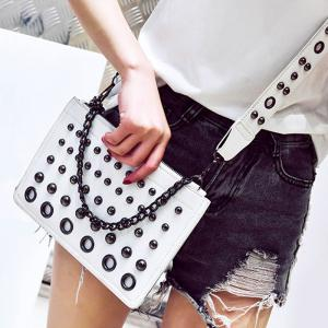 Eyelet Rivet Chain Crossbody Bag - White