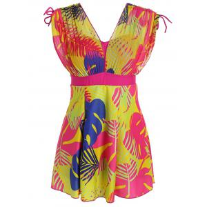 Print High Waist Plus Size Swimdress
