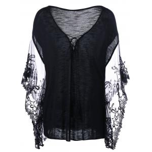 Flare Sleeve Lace Trim Plus Size T-Shirt - Black - 3xl