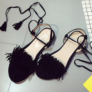 Fringe Flat Heel Sandals - BLACK 37