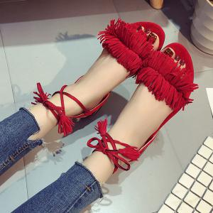 Fringe Flat Heel Sandals - RED 39