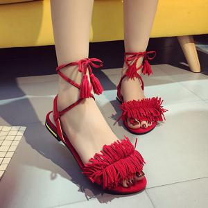 Fringe Flat Heel Sandals - Red - 39