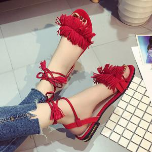 Fringe Flat Heel Sandals - RED 38