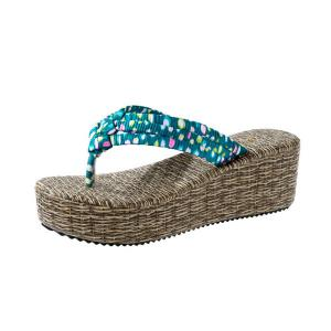 Polka Dot Platform Slippers - LAKE BLUE 39
