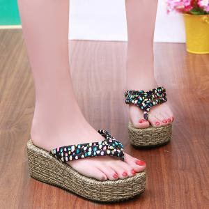Polka Dot Platform Slippers - Black - 37
