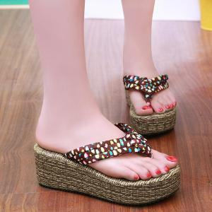 Polka Dot Platform Slippers - Deep Brown - 39
