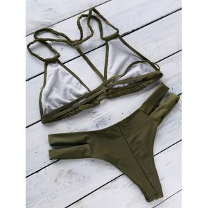 Trendy Halterneck Green Women's Bikini Set -