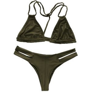Trendy Halterneck Green Women's Bikini Set - GREEN XL