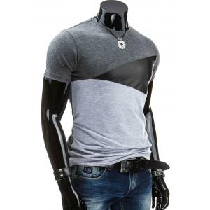 Casual Round Collar Pullover Color Block T-Shirt For Men - DEEP GRAY XL