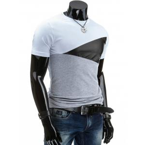 Casual Round Collar Pullover Color Block T-Shirt For Men - WHITE L