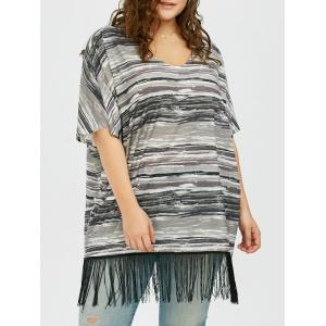 Plus Size Striped Fringed Top