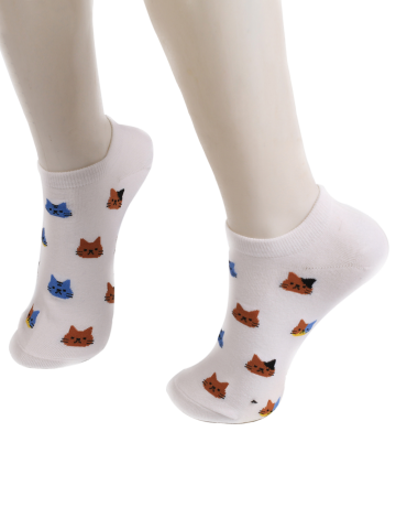 Online Cartoon Cat Head Embellished Loafer Ankle Socks WHITE