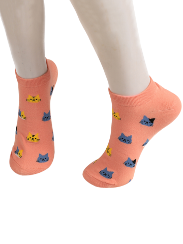 Cartoon Cat Head Embellished Loafer Ankle Socks Rose Foncé