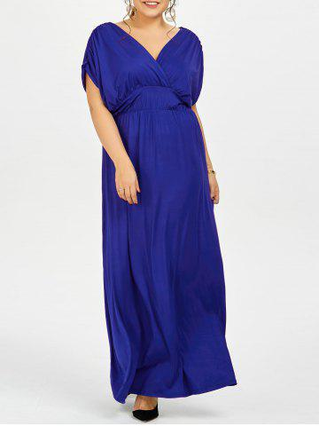 Fashion Plus Size Empire Waist Long Formal Evening Dress BLUE 5XL