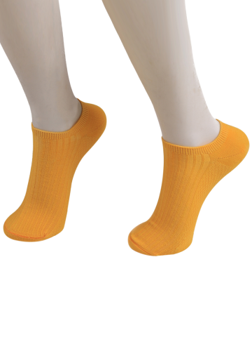 Latest Knited Striped Ankle Socks ORANGE YELLOW