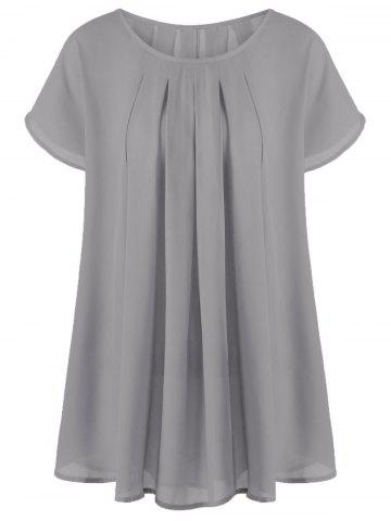 Buy Plus Size Longline Drape Blouse - Gray 2XL