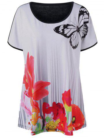 Buy Butterfly Floral Plus Size T-Shirt - White 2XL