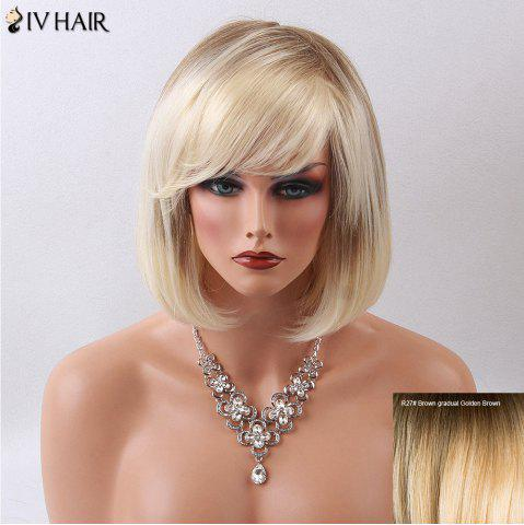 Siv Hair Medium Straight Side Bang Gradient Bob Human Hair Wig - GOLDEN BLONDE