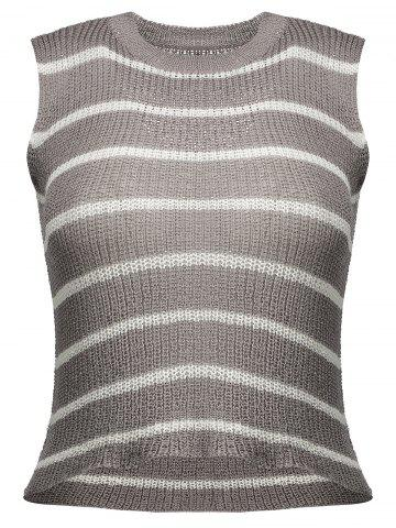 Store Striped Cropped Open Knit Tank Top