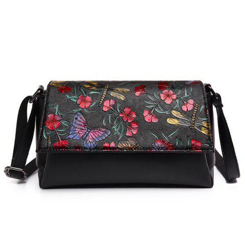 New Flower Dragonfly Butterfly Embossed Crossbody Bag