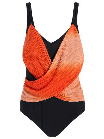 Store Ombre Retro Plus Size One Piece Swimwear ORANGE XL