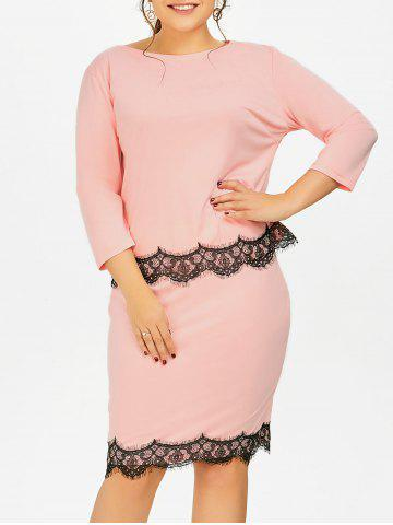 pink plus size lace panel blouse pencil skirt rosegalcom