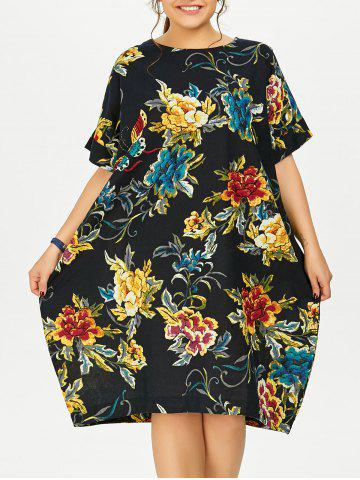 Affordable Plus Size Butterfly Floral Midi Oversized Dress