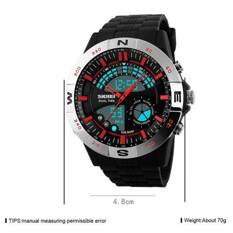 Online SKMEI Outdoor Timer Tachymeter Digital Sports Watch - SILVER AND RED  Mobile