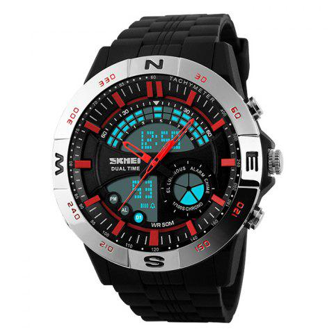Store SKMEI Outdoor Timer Tachymeter Digital Sports Watch SILVER AND RED